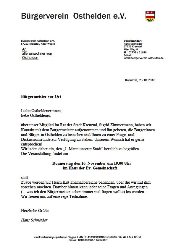 einladung - bürgermeister vor ort - bürgerverein osthelden, Einladung